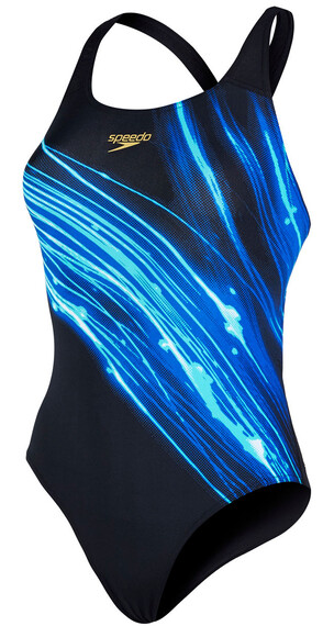 speedo Endurance + Fastdive Placement Powerback Swimsuit Women black/deep peri/bali blue